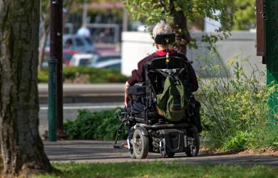 motorized wheelchair wheelchair elderly man